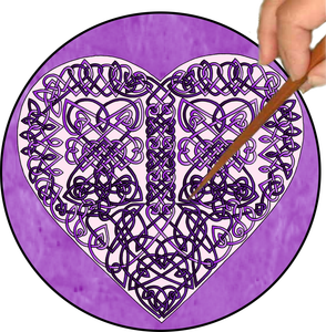 Celtic Hearts Mandalynth - Purple - Mindful Tracing Art for Stress, Anxiety and Attention Management