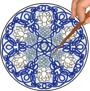 Celtic Lotus Mandalynth - Blue - Mindful Tracing Art for Stress, Anxiety and Attention Management