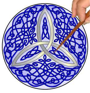 Celtic Trinity Knot Mandalynth - Blue - Mindful Tracing Art for Stress, Anxiety and Attention Management