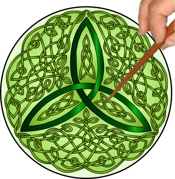 Celtic Trinity Knot Mandalynth - Green - Mindful Tracing Art for Stress, Anxiety and Attention Management