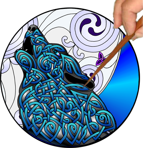 Celtic Wolf Mandalynth - Mindful Tracing Art for Stress, Anxiety and Attention Management
