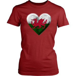 Welsh Flag Heart Women's Cotton Tee
