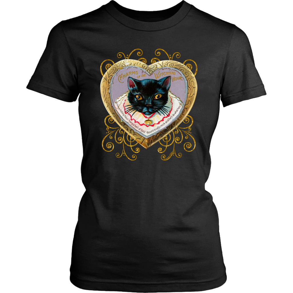 At The Witching Hour Cat and Gold Bell Vintage Women's T-Shirt