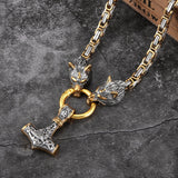 Thor's Hammer Dual Wolf Heads Celtic-Viking Necklace