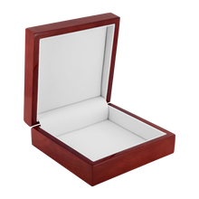 Load image into Gallery viewer, Celtic Art Burst in Ice Blue Jewelry Box - Red Mahogany, Golden Oak, or Ebony Black