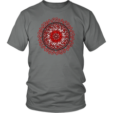 Load image into Gallery viewer, Celtic Art Burst in Red and Black - Single-line Celtic Knot Unisex T-shirt