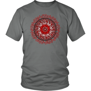 Celtic Art Burst in Red and Black - Single-line Celtic Knot Unisex T-shirt