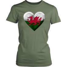 Load image into Gallery viewer, Welsh Flag Heart Women's Cotton Tee