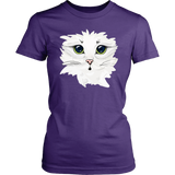White Kitty Face Soft Cotton Tee in Men's and Women's