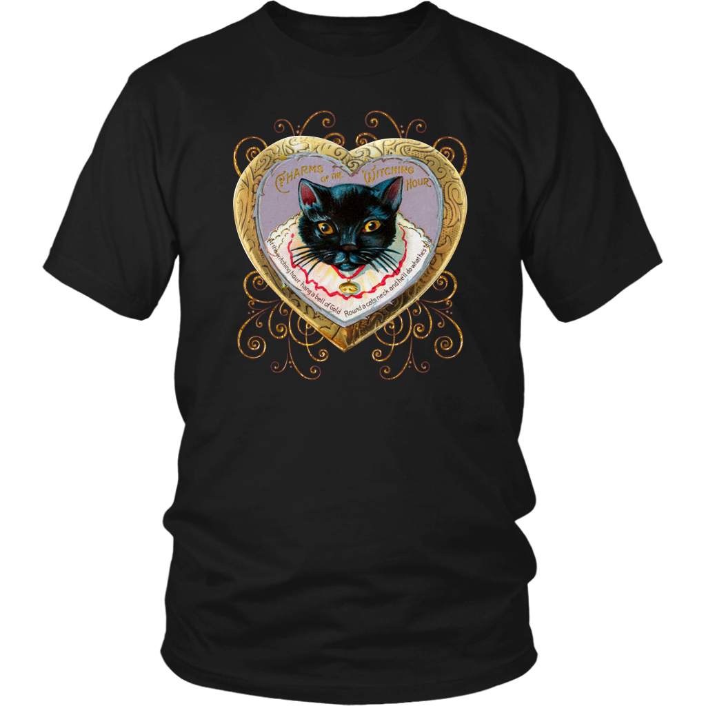 Copy of At The Witching Hour Cat and Gold Bell Vintage Unisex T-Shirt