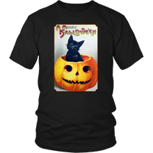 Load image into Gallery viewer, A Merry Halloween Cat in Pumpkin Unisex T-Shirt