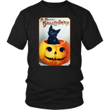A Merry Halloween Cat in Pumpkin Unisex T-Shirt