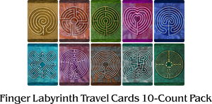 Finger Labyrinth Travel Cards 10-Count Pack - Minful Tracing Art for Stress, Anxiety and Attention Management