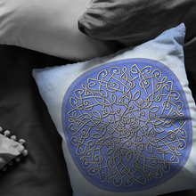 Load image into Gallery viewer, Celtic Art Burst in Ice Blue Throw Pillow