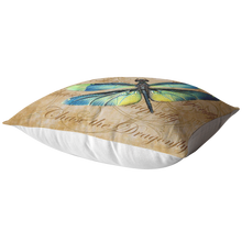 Load image into Gallery viewer, Blue and Green Dragonfly Nature Digital Collage Throw Pillow