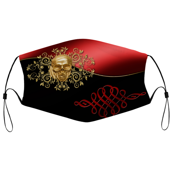 pirate, skull, brooch, filigree, red, black, gold