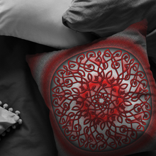 Load image into Gallery viewer, Celtic Art Burst in Red and Black Throw Pillow