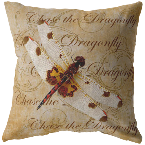 White and Orange Dragonfly Nature Digital Collage Throw Pillow