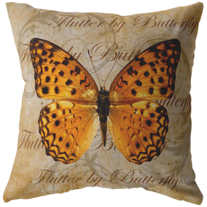 Orange Butterfly Nature Digital Collage Throw Pillow
