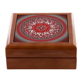 Celtic Art Burst in Red and Black Jewelry Box - Red Mahogany, Golden Oak, or Ebony Black