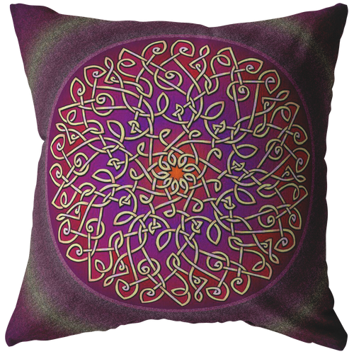 Celtic Art Burst in Sangria Throw Pillow