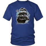 ghost ship, ghost tall ship, pirate ship, pirate art, nebula, pirate tall ship, pirates carribean, pirate star, galaxy, tall ship, compass rose, nautical, pirate captain, pirate wench, pirate scallywag, pirate shirt, pirate t-shirt