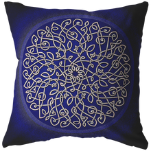 Load image into Gallery viewer, Celtic Art Burst in Dark Blue Throw Pillow