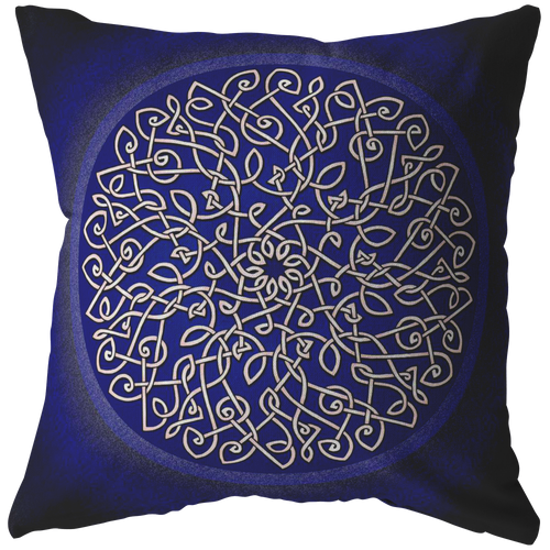Celtic Art Burst in Dark Blue Throw Pillow