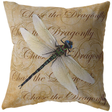 Load image into Gallery viewer, White Dragonfly Nature Digital Collage Throw Pillow