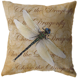 White Dragonfly Nature Digital Collage Throw Pillow