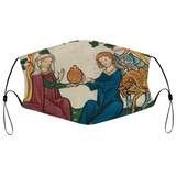 Lovers Sharing Wine Medieval Illumination Face Mask