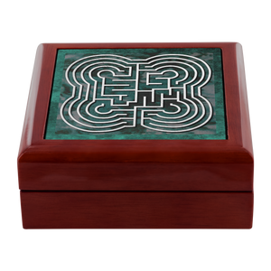 Johannes Commelyn Labyrinth Jewelry Box in Red Mahogany, Golden Oak, or Ebony Black