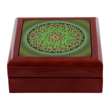 Load image into Gallery viewer, Celtic Art Burst in Sage Green Jewelry Box - Red Mahogany, Golden Oak, or Ebony Black