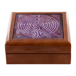 Poitiers Cathedral Labyrinth Jewelry Box in Red Mahogany, Golden Oak, or Ebony Black