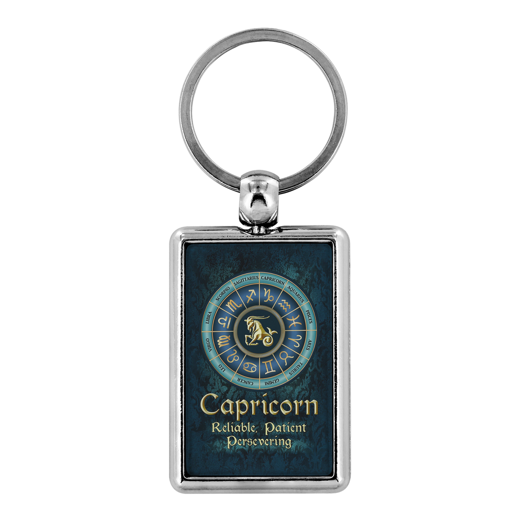 Blue Zodiac Capricorn Astrology Keychain