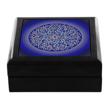 Load image into Gallery viewer, Celtic Art Burst in Dark Blue Jewelry Box - Red Mahogany, Golden Oak, or Ebony Black