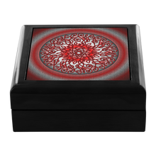 Load image into Gallery viewer, Celtic Art Burst in Red and Black Jewelry Box - Red Mahogany, Golden Oak, or Ebony Black
