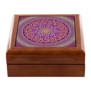 Celtic Art Burst in Sangria Jewelry Box - Red Mahogany, Golden Oak, or Ebony Black