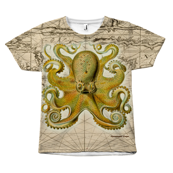 Vintage Yellow Octopus Front-Print Tee