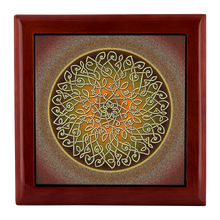 Load image into Gallery viewer, Celtic Art Burst in Autumn Jewelry Box - Red Mahogany, Golden Oak, or Ebony Black