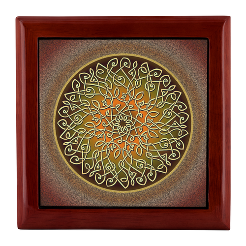Celtic Art Burst in Autumn Jewelry Box - Red Mahogany, Golden Oak, or Ebony Black
