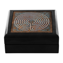 Load image into Gallery viewer, Knidos Labyrinth Jewelry Box in Red Mahogany, Golden Oak, or Ebony Black