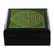 Load image into Gallery viewer, Abingdon Abbey Labyrinth Jewelry Box in Red Mahogany, Golden Oak, or Ebony Black