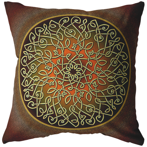 Celtic Art Burst in Autumn Throw Pillow