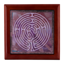 Load image into Gallery viewer, Poitiers Cathedral Labyrinth Jewelry Box in Red Mahogany, Golden Oak, or Ebony Black