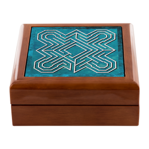 Ely Cathedral Labyrinth Jewelry Box in Red Mahogany, Golden Oak, or Ebony Black