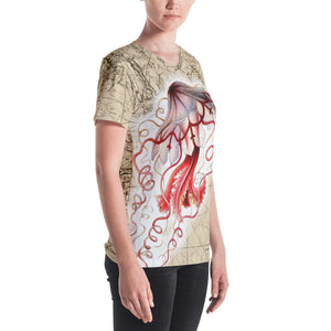 Vintage Red Jellyfish Nautical Women's All-Over V-Neck Tee