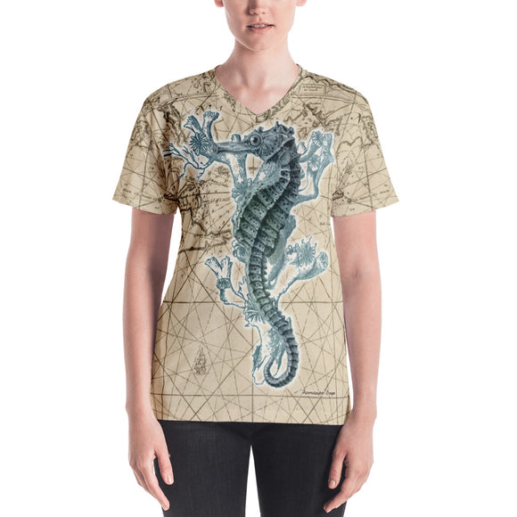 Vintage Blue Seahorse Nautical Women's All-Over V-Neck Tee
