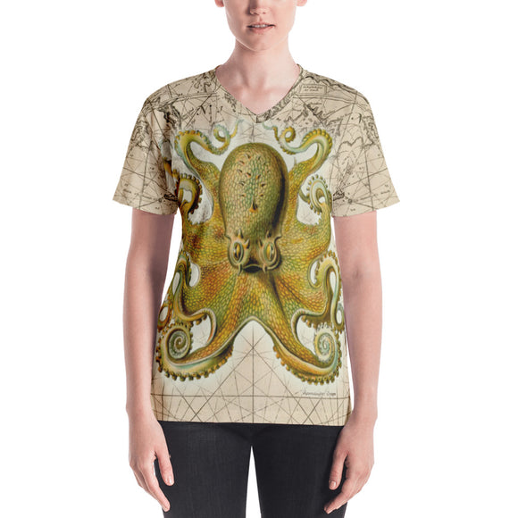 Vintage Yellow Octopus Nautical Women's All-Over V-Neck Tee