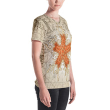 Load image into Gallery viewer, Vintage Orange Starfish Nautical Women's All-Over V-Neck Tee